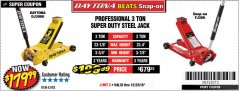Harbor Freight Coupon 3 TON DAYTONA PROFESSIONAL STEEL FLOOR JACK - SUPER DUTY Lot No. 63183 Expired: 12/23/18 - $179.99