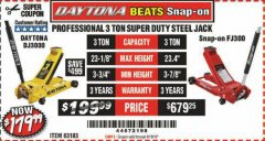 Harbor Freight Coupon 3 TON DAYTONA PROFESSIONAL STEEL FLOOR JACK - SUPER DUTY Lot No. 63183 Expired: 6/15/19 - $179.99
