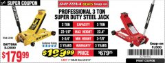 Harbor Freight Coupon 3 TON DAYTONA PROFESSIONAL STEEL FLOOR JACK - SUPER DUTY Lot No. 63183 Expired: 3/24/19 - $179.99