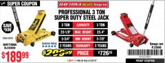 Harbor Freight Coupon 3 TON DAYTONA PROFESSIONAL STEEL FLOOR JACK - SUPER DUTY Lot No. 63183 Expired: 5/19/19 - $189.99