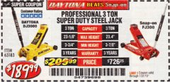 Harbor Freight Coupon 3 TON DAYTONA PROFESSIONAL STEEL FLOOR JACK - SUPER DUTY Lot No. 63183 Expired: 7/31/19 - $189.99