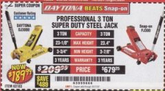 Harbor Freight Coupon 3 TON DAYTONA PROFESSIONAL STEEL FLOOR JACK - SUPER DUTY Lot No. 63183 Expired: 10/21/19 - $189.99