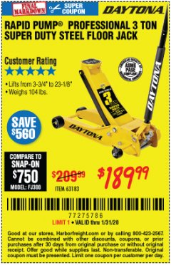 Harbor Freight Coupon 3 TON DAYTONA PROFESSIONAL STEEL FLOOR JACK - SUPER DUTY Lot No. 63183 Expired: 1/31/20 - $189.99