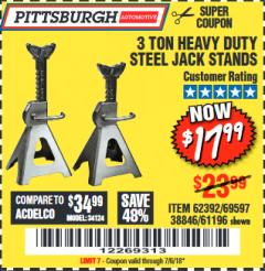 Harbor Freight Coupon 3 TON HEAVY DUTY STEEL JACK STANDS Lot No. 61196/62392/38846/69597 Expired: 7/6/18 - $17.99