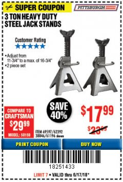 Harbor Freight Coupon 3 TON HEAVY DUTY STEEL JACK STANDS Lot No. 61196/62392/38846/69597 Expired: 6/17/18 - $17.99