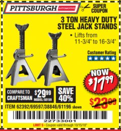 Harbor Freight Coupon 3 TON HEAVY DUTY STEEL JACK STANDS Lot No. 61196/62392/38846/69597 Expired: 10/15/18 - $17.99