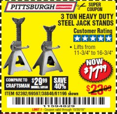 Harbor Freight Coupon 3 TON HEAVY DUTY STEEL JACK STANDS Lot No. 61196/62392/38846/69597 Expired: 10/30/18 - $17.99