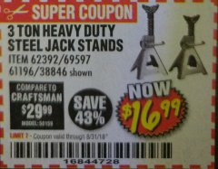 Harbor Freight Coupon 3 TON HEAVY DUTY STEEL JACK STANDS Lot No. 61196/62392/38846/69597 Expired: 8/31/18 - $16.99