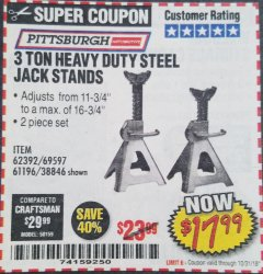 Harbor Freight Coupon 3 TON HEAVY DUTY STEEL JACK STANDS Lot No. 61196/62392/38846/69597 Expired: 10/31/18 - $17.99