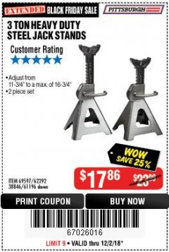 Harbor Freight Coupon 3 TON HEAVY DUTY STEEL JACK STANDS Lot No. 61196/62392/38846/69597 Expired: 12/2/18 - $17.86