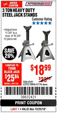 Harbor Freight Coupon 3 TON HEAVY DUTY STEEL JACK STANDS Lot No. 61196/62392/38846/69597 Expired: 12/23/18 - $18.99