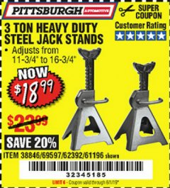 Harbor Freight Coupon 3 TON HEAVY DUTY STEEL JACK STANDS Lot No. 61196/62392/38846/69597 Expired: 6/1/19 - $18.99