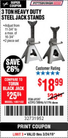 Harbor Freight Coupon 3 TON HEAVY DUTY STEEL JACK STANDS Lot No. 61196/62392/38846/69597 Expired: 3/24/19 - $18.99