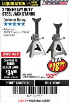 Harbor Freight Coupon 3 TON HEAVY DUTY STEEL JACK STANDS Lot No. 61196/62392/38846/69597 Expired: 4/30/19 - $18.99