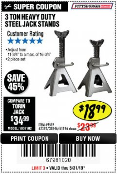 Harbor Freight Coupon 3 TON HEAVY DUTY STEEL JACK STANDS Lot No. 61196/62392/38846/69597 Expired: 5/31/19 - $18.99
