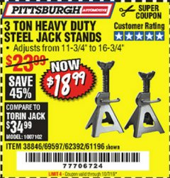 Harbor Freight Coupon 3 TON HEAVY DUTY STEEL JACK STANDS Lot No. 61196/62392/38846/69597 Expired: 10/7/19 - $18.99