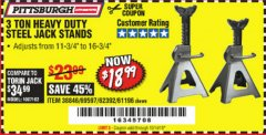Harbor Freight Coupon 3 TON HEAVY DUTY STEEL JACK STANDS Lot No. 61196/62392/38846/69597 Expired: 10/14/19 - $18.99