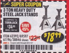 Harbor Freight Coupon 3 TON HEAVY DUTY STEEL JACK STANDS Lot No. 61196/62392/38846/69597 Expired: 8/31/19 - $18.99