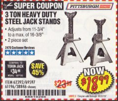 Harbor Freight Coupon 3 TON HEAVY DUTY STEEL JACK STANDS Lot No. 61196/62392/38846/69597 Expired: 10/31/19 - $18.99