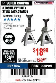 Harbor Freight Coupon 3 TON HEAVY DUTY STEEL JACK STANDS Lot No. 61196/62392/38846/69597 Expired: 9/29/19 - $18.99