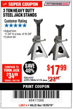 Harbor Freight Coupon 3 TON HEAVY DUTY STEEL JACK STANDS Lot No. 61196/62392/38846/69597 Expired: 10/20/19 - $17.99