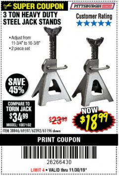 Harbor Freight Coupon 3 TON HEAVY DUTY STEEL JACK STANDS Lot No. 61196/62392/38846/69597 Expired: 11/30/19 - $18.99
