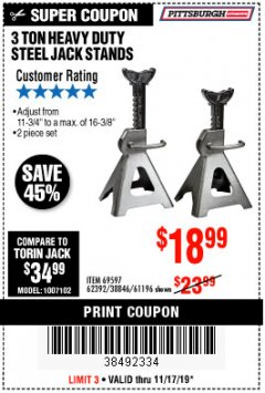 Harbor Freight Coupon 3 TON HEAVY DUTY STEEL JACK STANDS Lot No. 61196/62392/38846/69597 Expired: 11/17/19 - $18.99