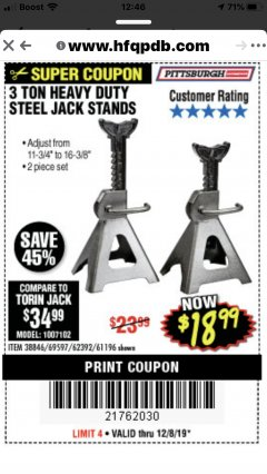 Harbor Freight Coupon 3 TON HEAVY DUTY STEEL JACK STANDS Lot No. 61196/62392/38846/69597 Expired: 12/8/19 - $18.99