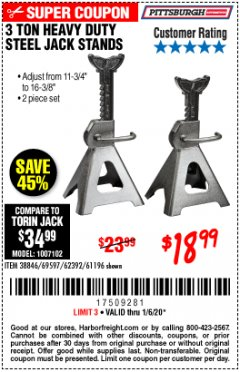 Harbor Freight Coupon 3 TON HEAVY DUTY STEEL JACK STANDS Lot No. 61196/62392/38846/69597 Expired: 1/6/20 - $18.99