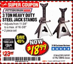 Harbor Freight Coupon 3 TON HEAVY DUTY STEEL JACK STANDS Lot No. 61196/62392/38846/69597 Valid Thru: 3/31/20 - $18.99