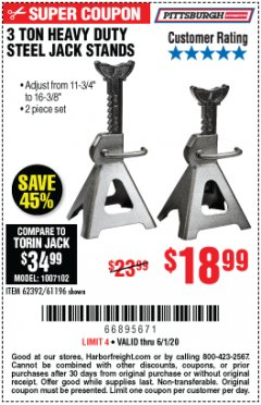 Harbor Freight Coupon 3 TON HEAVY DUTY STEEL JACK STANDS Lot No. 61196/62392/38846/69597 EXPIRES: 6/30/20 - $18.99