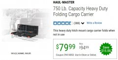 Harbor Freight Coupon HEAVY DUTY FOLDING STEEL CARGO CARRIER Lot No. 62660/56120 Expired: 6/30/20 - $79.99