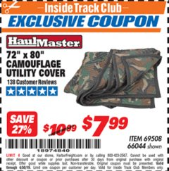 "Harbor Freight ITC Coupon 72"" x 80"" CAMOUFLAGE UTILITY BLANKET Lot No. 69508, 66044 Expired: 4/30/19 - $7.99"