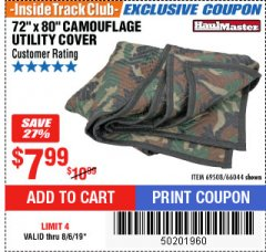 "Harbor Freight ITC Coupon 72"" x 80"" CAMOUFLAGE UTILITY BLANKET Lot No. 69508, 66044 Expired: 8/6/19 - $7.99"
