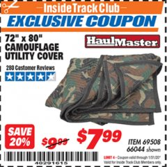 "Harbor Freight ITC Coupon 72"" x 80"" CAMOUFLAGE UTILITY BLANKET Lot No. 69508, 66044 Expired: 1/31/20 - $7.99"