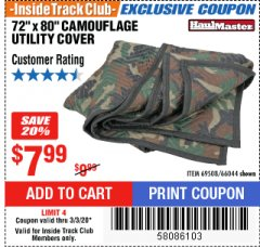 "Harbor Freight ITC Coupon 72"" x 80"" CAMOUFLAGE UTILITY BLANKET Lot No. 69508, 66044 Expired: 3/3/20 - $7.99"