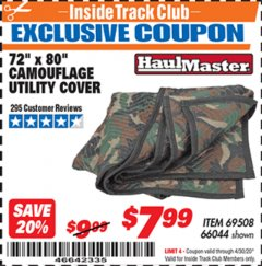"Harbor Freight ITC Coupon 72"" x 80"" CAMOUFLAGE UTILITY BLANKET Lot No. 69508, 66044 Expired: 4/30/20 - $7.99"