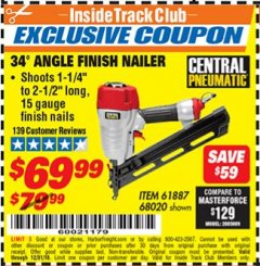 Harbor Freight ITC Coupon 34' ANGLE FINISH AIR NAILER Lot No. 61887, 68020 Expired: 12/31/18 - $69.99