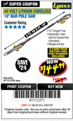 Harbor Freight Coupon LYNXX 40V LITHIUM CORDLESS POLE SAW Lot No. 64476/63286/64718 Expired: 10/21/18 - $144.99
