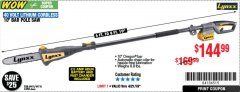 Harbor Freight Coupon LYNXX 40V LITHIUM CORDLESS POLE SAW Lot No. 64476/63286/64718 Expired: 4/21/19 - $144.99