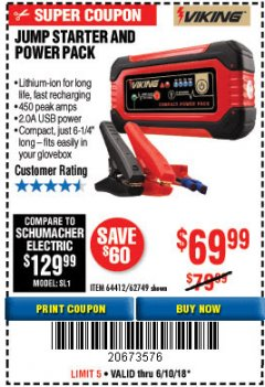 Harbor Freight Coupon LITHIUM ION JUMP STARTER AND POWER PACK Lot No. 62749/64412/56797/56798 Expired: 6/10/18 - $69.99