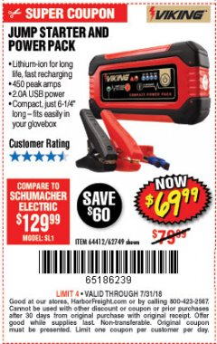 Harbor Freight Coupon LITHIUM ION JUMP STARTER AND POWER PACK Lot No. 62749/64412/56797/56798 Expired: 7/31/18 - $69.99