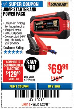 Harbor Freight Coupon LITHIUM ION JUMP STARTER AND POWER PACK Lot No. 62749/64412/56797/56798 Expired: 7/22/18 - $69.99