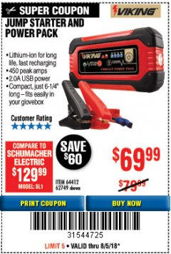 Harbor Freight Coupon LITHIUM ION JUMP STARTER AND POWER PACK Lot No. 62749/64412/56797/56798 Expired: 8/5/18 - $69.99