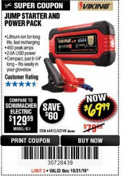 Harbor Freight Coupon LITHIUM ION JUMP STARTER AND POWER PACK Lot No. 62749/64412/56797/56798 Expired: 10/31/18 - $69.99