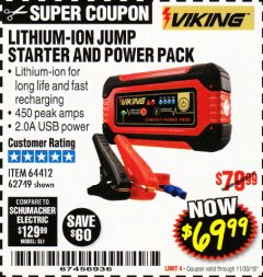 Harbor Freight Coupon LITHIUM ION JUMP STARTER AND POWER PACK Lot No. 62749/64412/56797/56798 Expired: 11/30/18 - $69.99