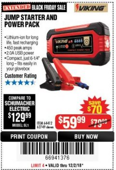 Harbor Freight Coupon LITHIUM ION JUMP STARTER AND POWER PACK Lot No. 62749/64412/56797/56798 Expired: 12/2/18 - $59.99