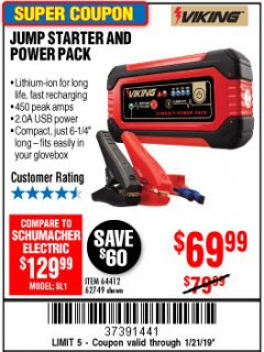 Harbor Freight Coupon LITHIUM ION JUMP STARTER AND POWER PACK Lot No. 62749/64412/56797/56798 Expired: 1/21/19 - $69.99