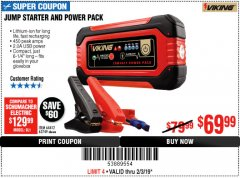 Harbor Freight Coupon LITHIUM ION JUMP STARTER AND POWER PACK Lot No. 62749/64412/56797/56798 Expired: 2/3/19 - $69.99