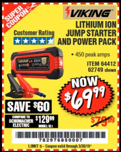 Harbor Freight Coupon LITHIUM ION JUMP STARTER AND POWER PACK Lot No. 62749/64412/56797/56798 Expired: 3/30/19 - $69.99